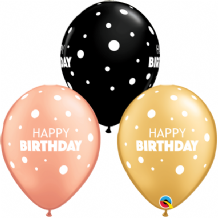 Birthday Big & Little Dots (Assorted) - 11 Inch Balloons 25pcs